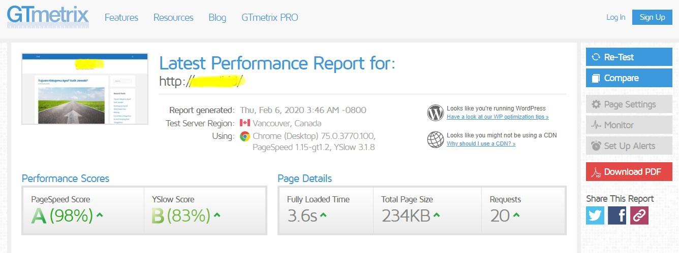 Cara melihat performa kecepatan website
