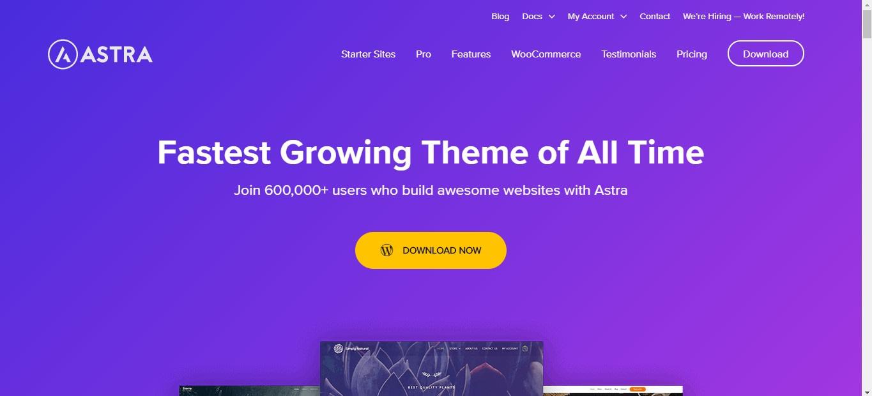 Tampilan website WP AStra