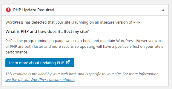 Pesan notifikasi versi PHP pada WordPress