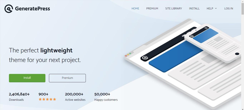 Tampilan website Generatepress