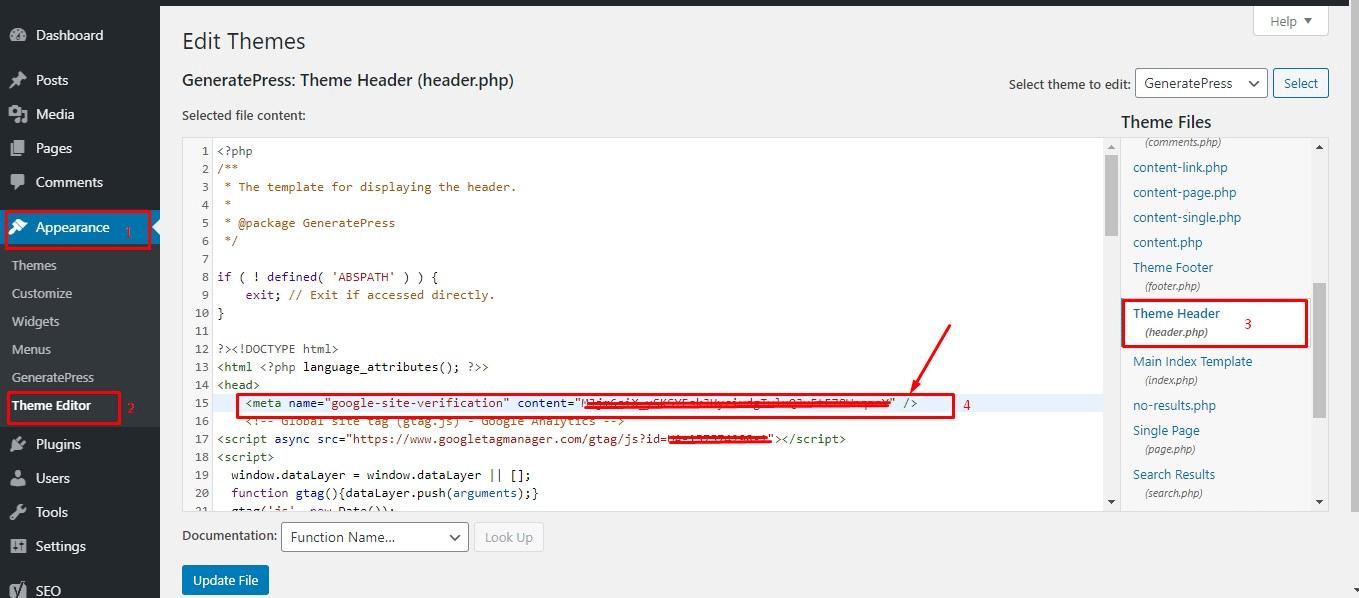 Cara memasang kode verifikasi Google Search Console di Web / blog WordPress