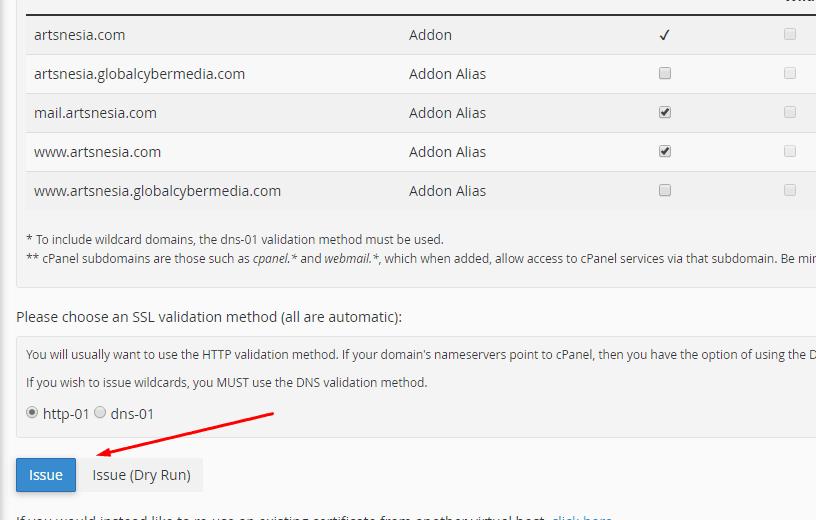 tombol issue SSL di Cpanel