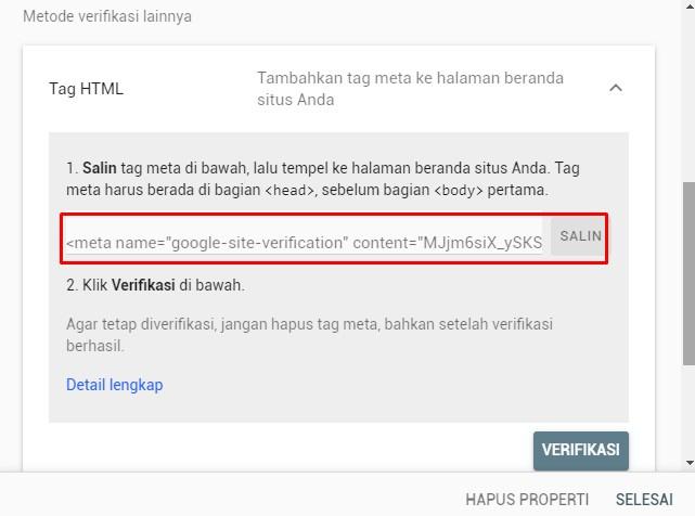 Cara memasang kode verifiksi google search console