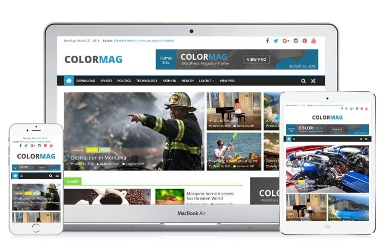 Tampilan Website Colormagz